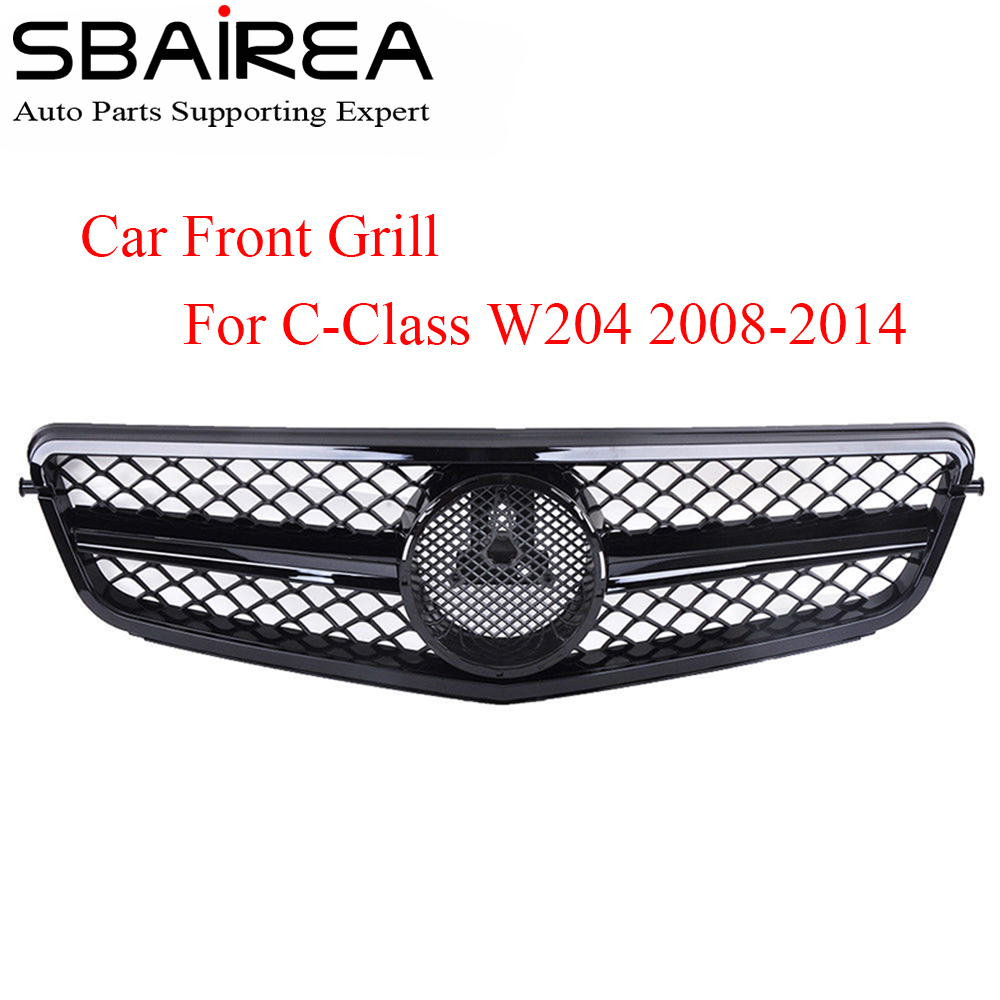 SBAIREA Car Front grill With Emblem for Mercedes Benz C Class W204 Grille Autogrill For c180 c200 c230 c250 c280 c300 c350