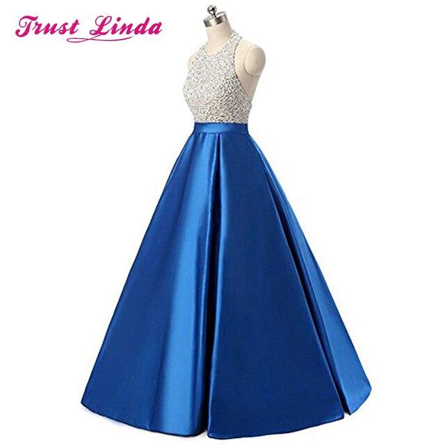 High Quality Halter Neck Beading Tops Prom Gown Floor Length Formal Evening Dresses Custom Made