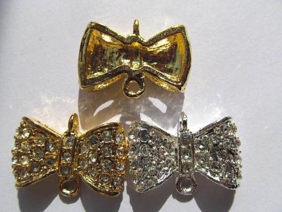 Arc de lot papillon spacer 15 x 25 mm 24 pcs, Métal et cristal or , argent mixte perles d'espacement anneau
