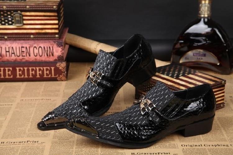 Nouveau Design classique boucles hommes Oxfords chaussures noir véritable vache en cuir chaussures or embout pour printemps mâle unique chaussures