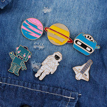 6 Styles Astronaut Robot Planet Space Shuttle Universe Warfare Brooch Pin Clothing Decoration Bag Coat Accessories(China)
