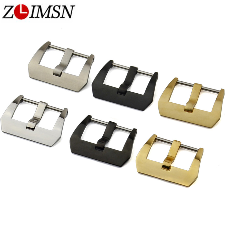 ZLIMSN 10pcs/lot Watch Buckle Stainless Steel Silver Black Gold Polished Brushed 18mm 20mm 22mm 24mm 26mm for Panerai Watch Band 20mm 22mm 24mm 26mm black stainless steel buckle for watch strap band free shipping