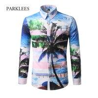 Homme Palmera Impreso Camisa de Los Hombres Camisas Casuales 2017 de la Nueva Llegada Azul de Ocio de Moda de Playa Tropical Floral Camisa Masculina