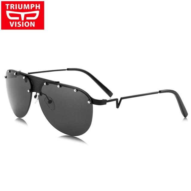 b4e9c815ddd TRIUMPH VISION Cool Rivet Sun Glasses For Men Metal Pilot Male Sunglasses  Rimless Deisnger Black Oculos