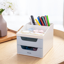 DELI Stationery Holder Student Papelaria Office Three-tier File Tray Multifunctional Pen Drawers Desktop Organizer