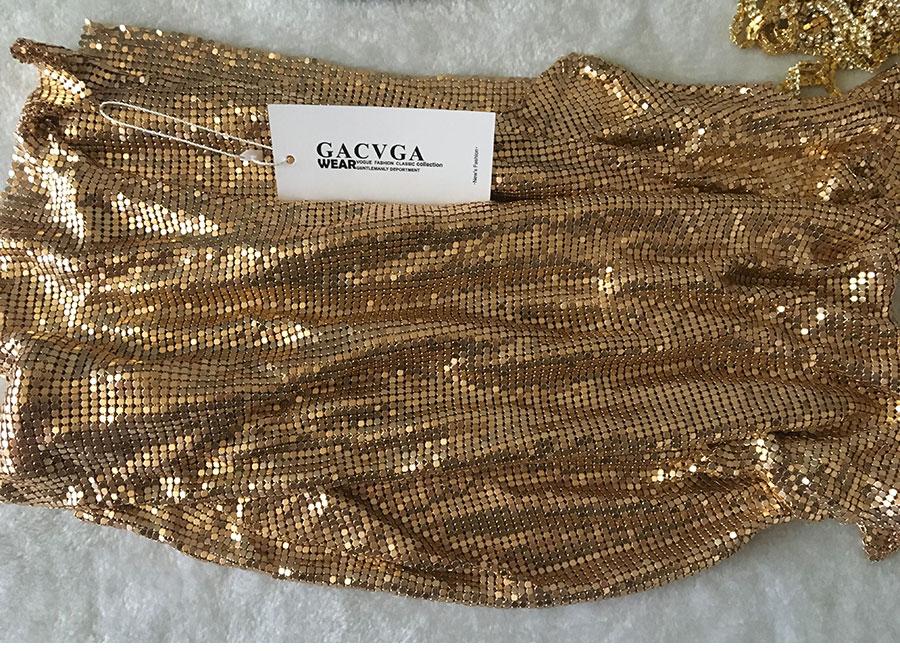 GACVGA 17 Sexy Diamond Halter Metal Party Dresses Gold Silver Summer Dress Vesitos Backless Sequins Women Dress 15