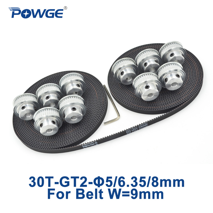 все цены на POWGE 10pcs 30 teeth GT2 Synchronous Pulley Bore 5mm 6.35mm 8mm + 10Meters width 9mm GT2 open Timing Belt 2GT pulley 30Teeth 30T онлайн