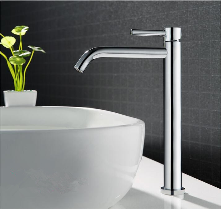 Free Shipping hot and cold basin faucet bathroom faucet basin mixer bathroom sink faucet tall chrome
