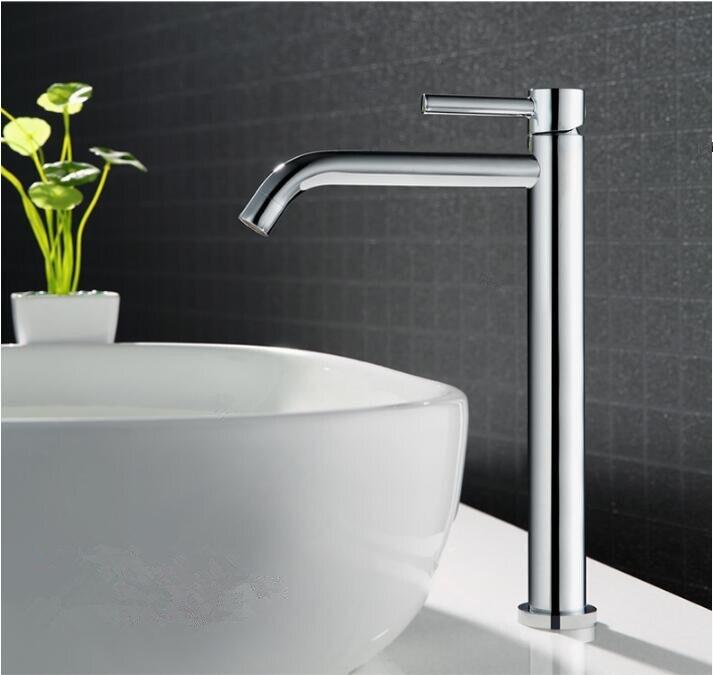 Livraison Gratuite chaude et froide bassin robinet salle de bains robinet bassin mélangeur salle de bains robinet d'évier grand chrome en laiton grue robinet
