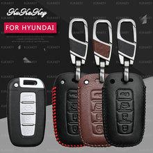 KUKAKEY Remoto Inteligente Caso Chave Do Carro Para Hyundai Elantra Sonata Tucson Verna I30 IX45 Keychain da Chave Do Carro de Couro Titular Cobertura saco