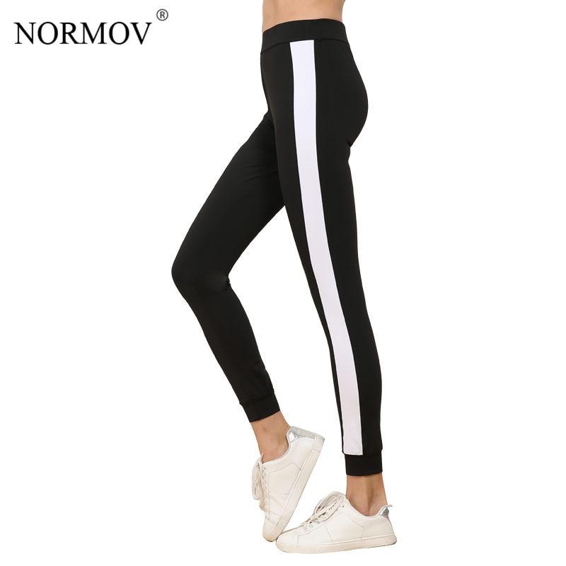 NORMOV Women's Side Stripe Legging Pants Fashion Large Size Workout Polyester Leggings Activewear Black Leggings Women S-XL