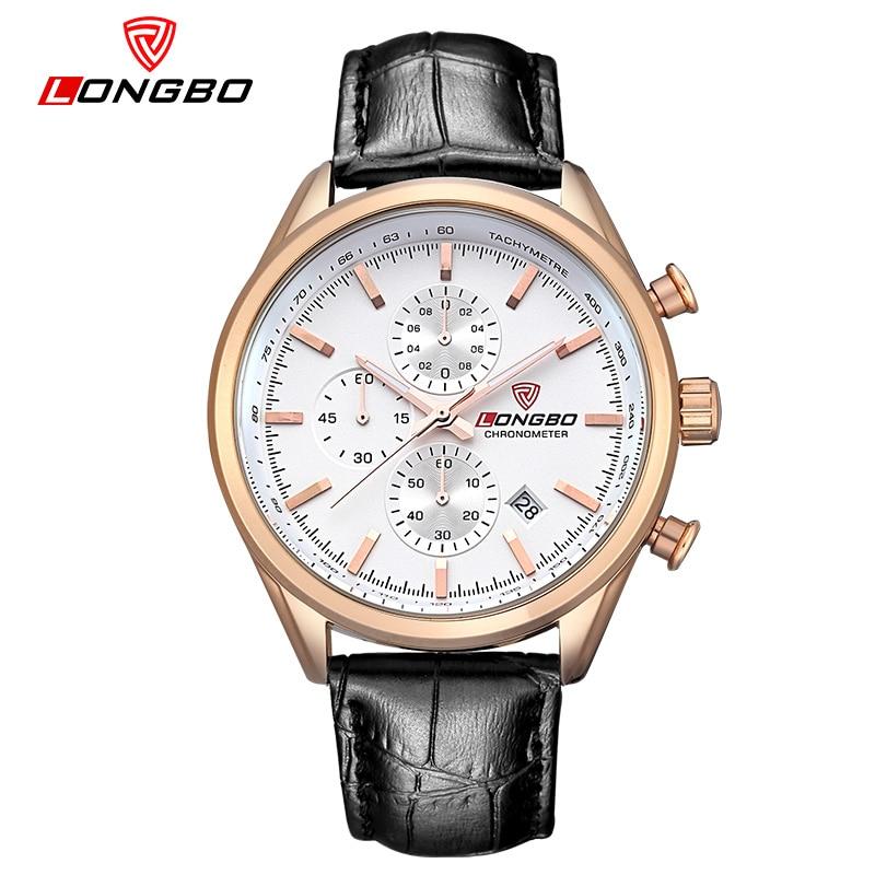 LONGBO marque montre de sport hommes en cuir et en acier inoxydable bandes de mode hommes montre étanche montres hommes Relogio Masculino