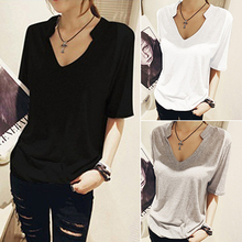 New Arrival Women Summer Fashion Slim Fit Tee Casual V Neck Tops T-Shirt Solid Color