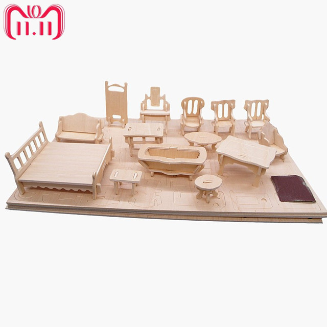 34pcs Set 1 24 Dollhouse Mini Furnitures Children S Educational Wooden Doll Furniture Toy Puzzle Model Kit Christmas