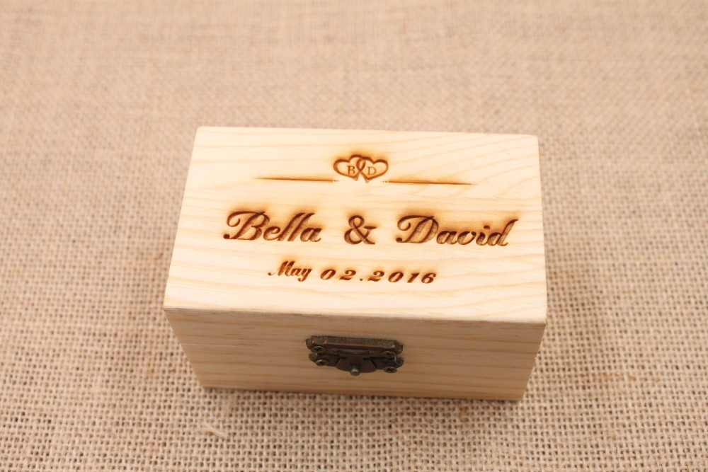 Wedding Gift Storage Box : Wooden Ring Bearer Storage Box Rustic Wedding Gifts Ring Box ...