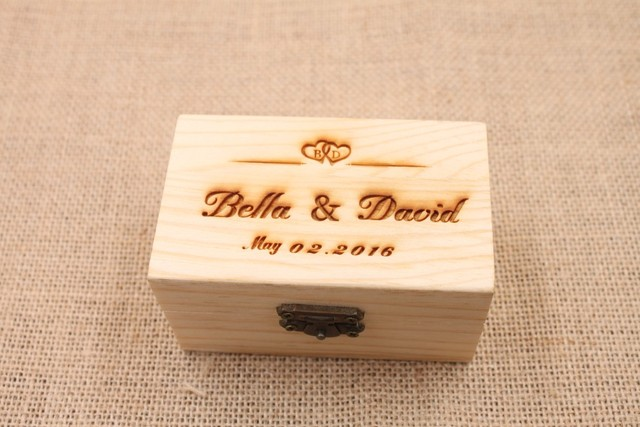Charmant Customized Name Wedding Ring Box Engagement Personalized Wooden Ring Bearer Storage  Box Rustic Wedding Gifts Ring