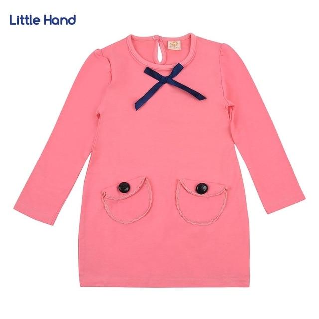 Платье для малышей 2017 розовый с длинным рукавом карманов Обувь для девочек платье-туника Повседневное хлопок детская одежда аппликация халат FILLE детская Платья для женщин