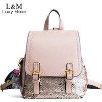 Luxy trăng Long Lanh Ba Lô Phụ Nữ Màu Thay Đổi Sequins Ba Lô Tuổi Teen Cô Gái Bling Rucksack Thời Trang Trường Bag mochila XA330H