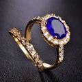 Blucome Двойные Кольца Перста Big Blue Кубического Циркония Широкие Кольца Для Женщин Романтической Свадьбы Медь Два Кольца Bijoux Anillos