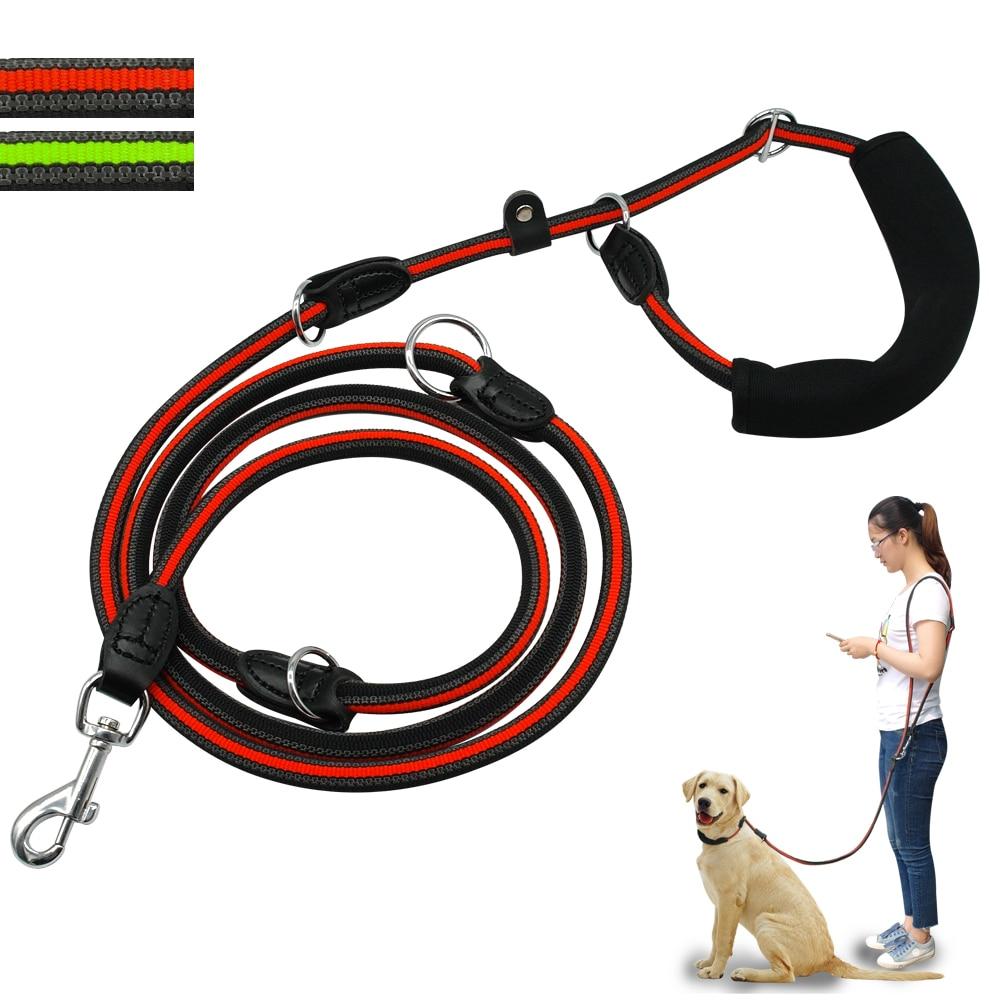 2e48031d6154 Correa reflectante para perro manos libres antideslizante perros lleva  correas multifunción doble perro con mango suave para uno o dos perros