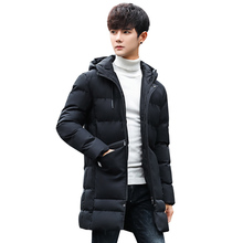2017 New Clothing Parka Fashion Middle Long Thick Winter Coat Men Solid Parka Fashion Overcoat Outerwear