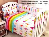 Promotion! 6/7PCS 100% combed cotton crib bedding set ,infant nursery bedding,baby bedding set bumper, 120*60/120*70cm