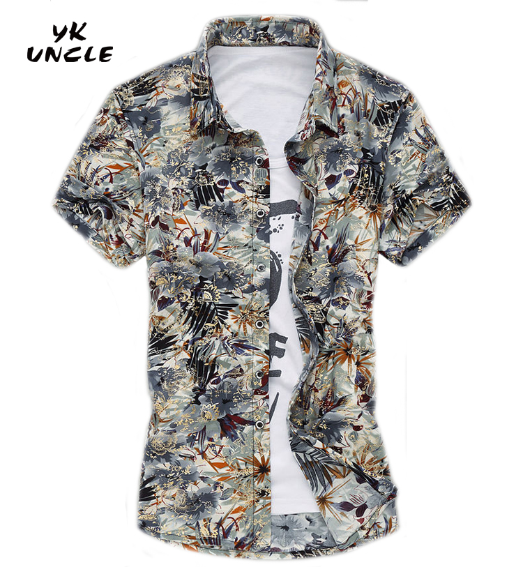 YK UNCLE Brand 2017 New Men Shirt Short Sleeve Dress Shirt Men Bronzing Gold Printed Floral shirts Plus Size Camisa Non Ironing