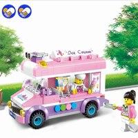 Un giocattolo di Un dream City Amici Mobile Urbano Sogno di Ragazza Ice Cream Truck Building Block Assemblaggio Garbage Truck Bus Giocattoli Legoingly