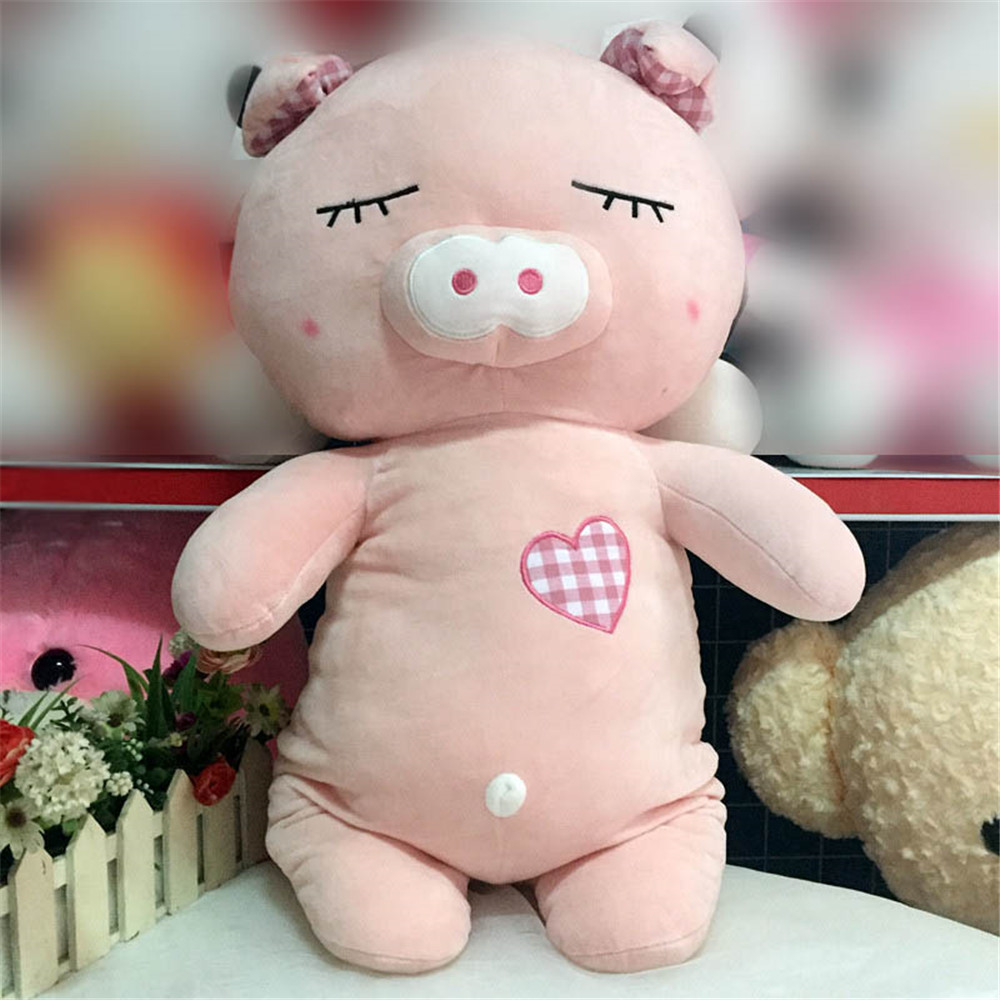 Fancytrader Soft Cute Animals Pigs Plush Doll Stuffed Anime Pink Blue Piggy Toys 80cm 31inch fancytrader giant plush penguine toys big stuffed lovely anime penguines doll 70cm 28inches gifts for children