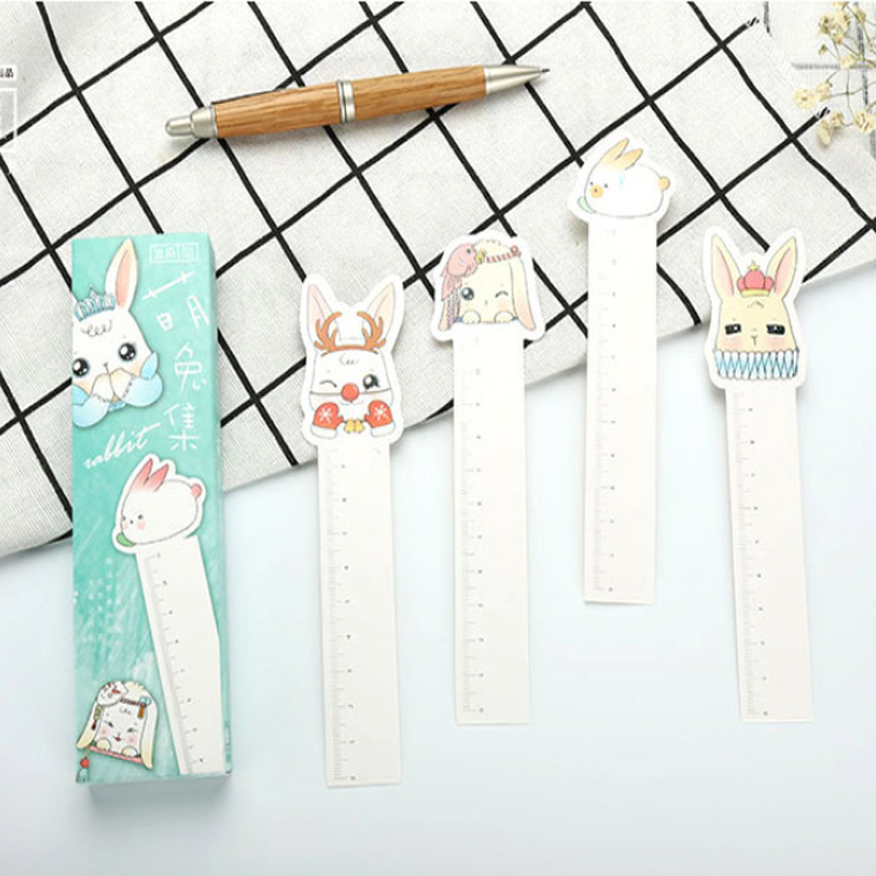 10packs/lot cartoon lovely rabbit mulifunction bookmark with measuring ruler gifts for reader papelaria wholesale(China)