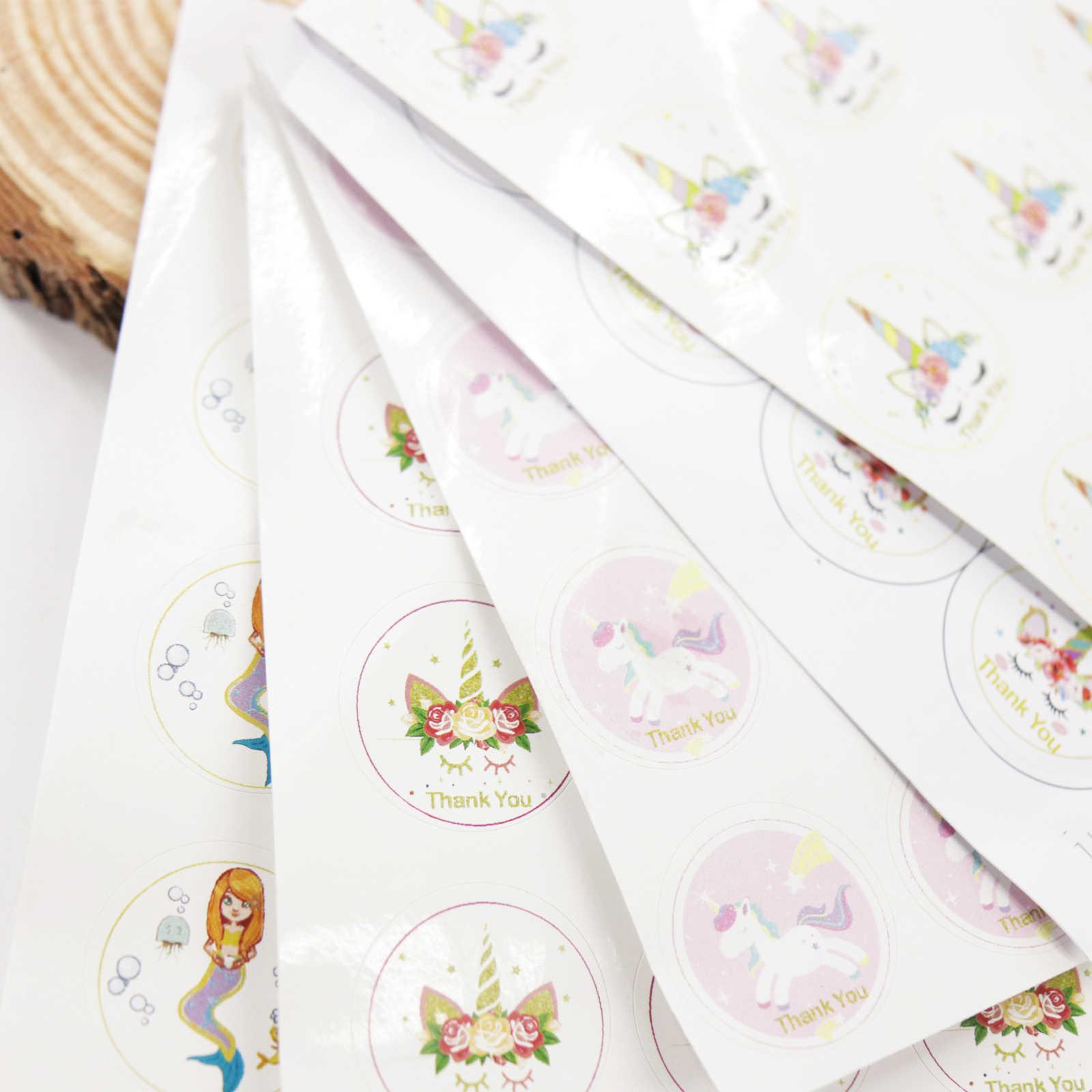 12 pçs/lote Unicórnio Sereia Saco de Embalagem de Alimentos Caixa de Presente de Chocolate Caixa De Presente Adesivos DIY Presentes Etiqueta Decorações Da Festa de Aniversário