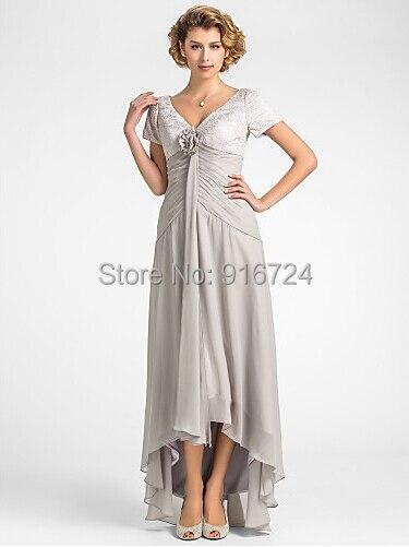 Онлайн v-образным вырезом асимметричный кружево и шифон мама невесты платье