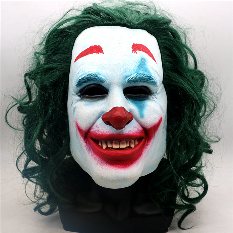 Movie Batman Joker Mask Cosplay Props Joaquin Phoenix Horror Mask with Green Hair Wig Unisex Halloween Clown Accessories