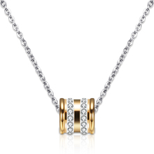 Two Color Fashion Stainless Steel Design CZ Crystal Necklaces Pendants