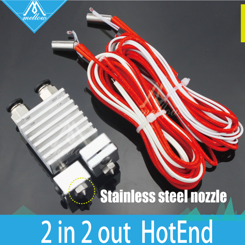 HOT 3D printer All metal Teflon Chimera Hotend kit Multi extrusion V6 Dual Head Extruder 0
