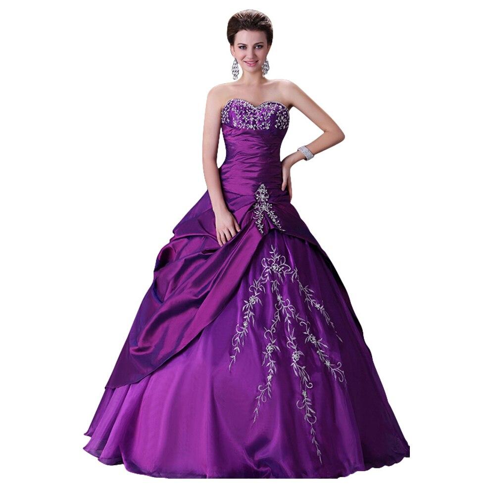 Princess Purple Wedding Gown Beaded Sweet Bridal Wedding Dress 2017 ...