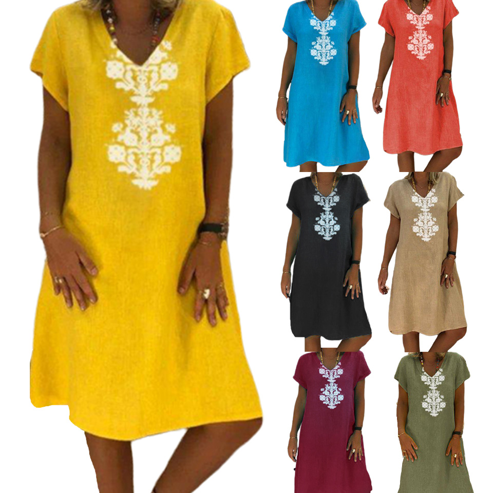 Summer Dresses Robe Femme Ete 2020 Beach Hippie Boho Plus Size Dresses For Women 4xl 5xl A Line Sukienka Linen Cotton Clothes