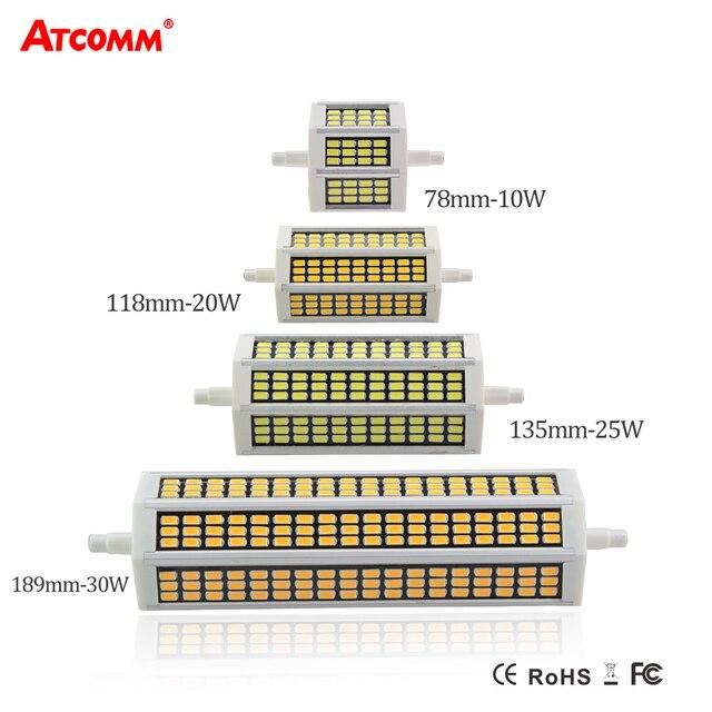 78 118 135 189 مللي متر R7S عدسة ليد ثنائية الأضواء لمبة 220 فولت 10 واط 20 واط 25 واط 30 واط أمبولة LED R7S الكاشف سمد 5730 عالية التجويف لا وميض