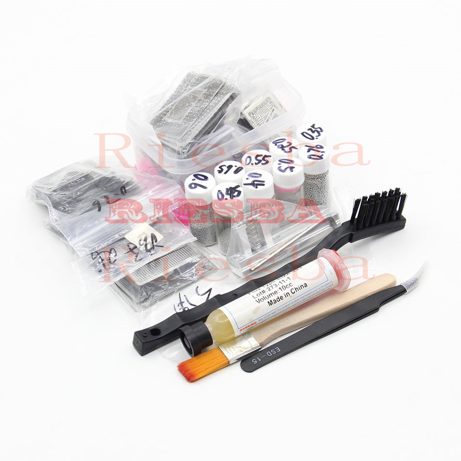 maxgboon 27pcs bga directly heat rework reballing universal stencil template bga reballing kit station 110pcs BGA Reballing Directly Heat Stencils + Solder Paste Balls Station BGA Reballing kit For SMT Rework Repair