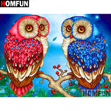 HOMFUN Full Square/Round Drill 5D DIY Diamond Painting Owl couple 3D Embroidery Cross Stitch Home Decor A19086