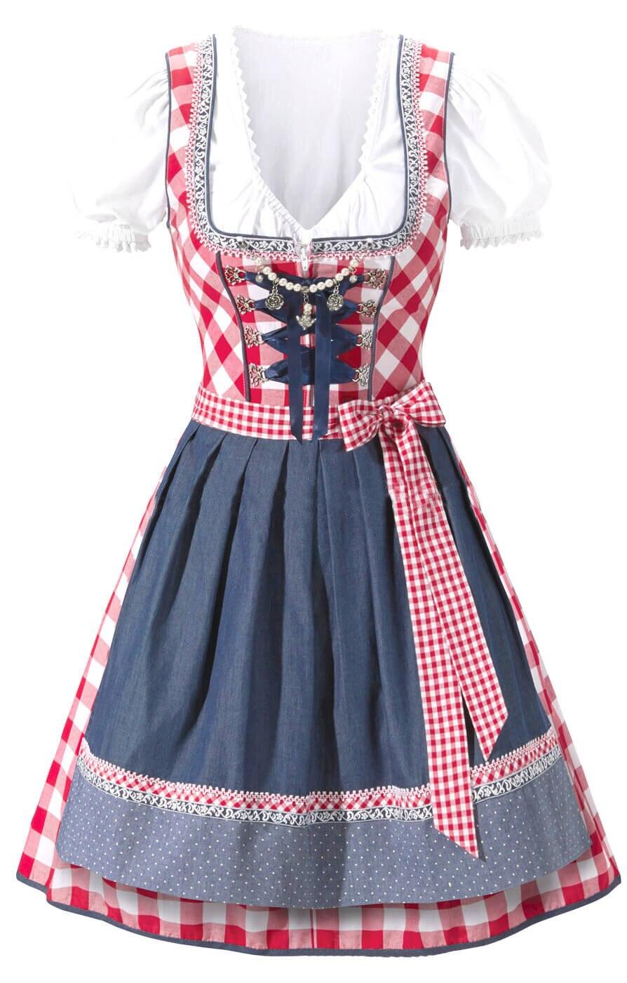 3 tlg Dirndl Traditional Costume German Austrian Bavarian Oktoberfest Beer Girl Costume Halloween Outfit