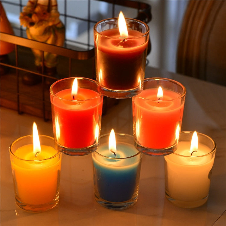 New Scented Birthday Weddings Candles Colorful Love Flameless DIY Candles Glass Holder W ...