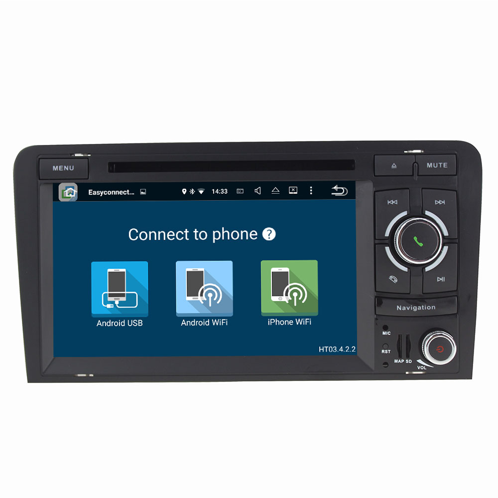 Android 7.1.1 2 Din Quad Core 2GB RAM 16GB ROM Android Car DVD Multimedia Player GPS Navi For Audi A3 2003-2011 2012 2013 S3 RS3