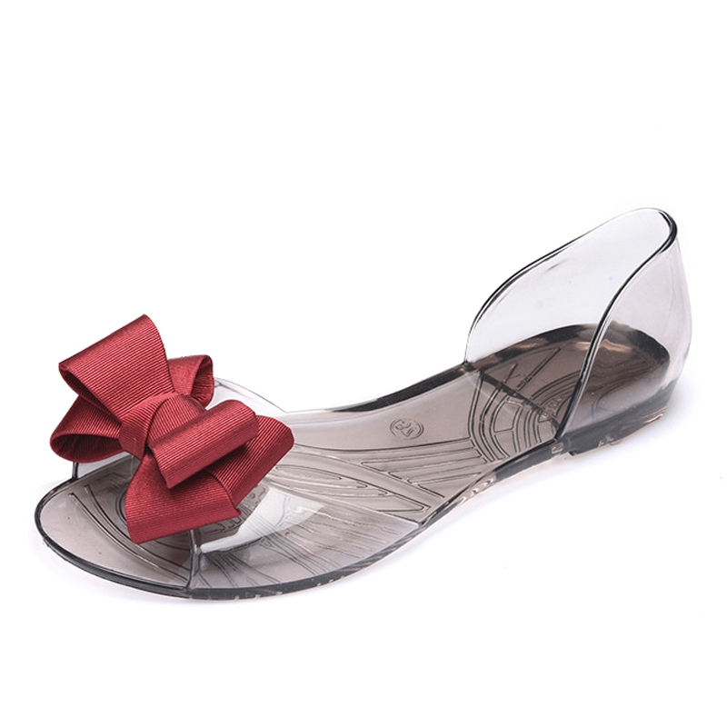 Xemonale 2017 New Women Jelly Sandals Sweet Bowtie Flat Shoes Woman Slip On Summer Jelly Shoes 4 Colors Size 35-40 XWZ3710 zapatos mujer black red summer sweet bowtie flat sandals slip toe beach sandals butterfly knot flat sandals shoes plus size 44