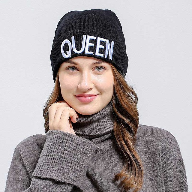 Winter Warm Skullies Beanies Knit KING QUEEN Hat Skullies Bonnet Hats For  Men Women Beanie Ski Embroidery Cap de657137a683