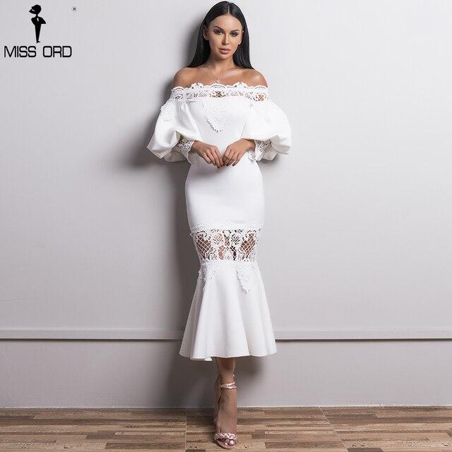 Missord 2019 для женщин пикантные с открытыми плечами фонари рукавом платья для Женский кружево повседневное элегантное платье Русалочки FT18430