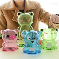 2pcs Pair Child Kids Cute Gifts Large Small Plastic Piggy Bank Coin Boxes Frog Bear Pig