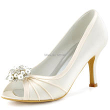 Woman Shoes Peep Toe High Heel Evening Pumps Rhinestones Clips Satin Bridesmaids Bride Wedding Bridal Shoes EP2094AE Ivory