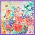90 см * 90 см 2016 Новая Мода Шелковый Шарф Женщин Имитационные Шелковый Рука Ничья Дейзи Цветочная Печатный Шарфы платок Хиджаб
