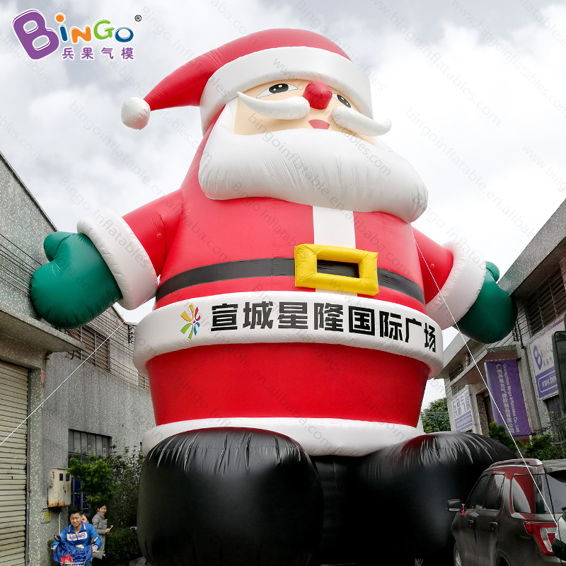 High quality PVC material 12M giant inflatable Santa Claus with logo for shopping mall advertising Christmas decoration toys